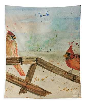 Winter Cardinals Tapestry