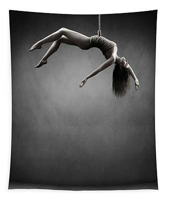 Woman Hanging On A Rope Tapestry