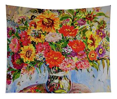 Zinnias And Sunflowers Tapestry