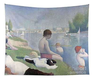 Tapestry featuring the painting Bathers At Asnieres by Georges Seurat