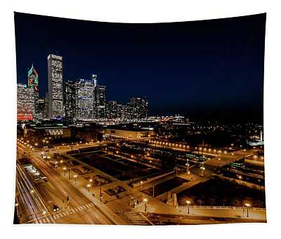 10th Floor View Of Chicago Skyline Tapestry