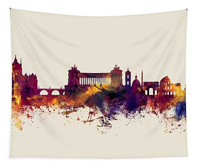 Rome Italy Skyline Tapestry