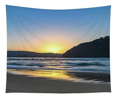 Hazy Sunrise Seascape Tapestry