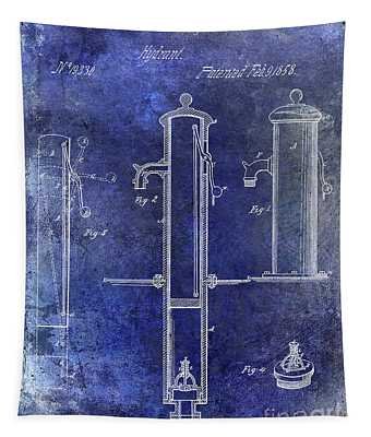 1858 Fire Hydrant Patent Blue Tapestry