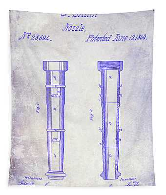 1860 Fire Hose Nozzle Patent Blueprint Tapestry