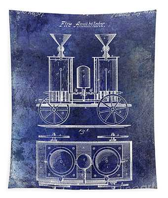 1870 Fire Truck Patent Blue Tapestry