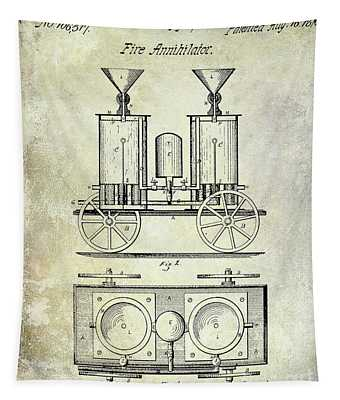 1870 Fire Truck Patent Tapestry