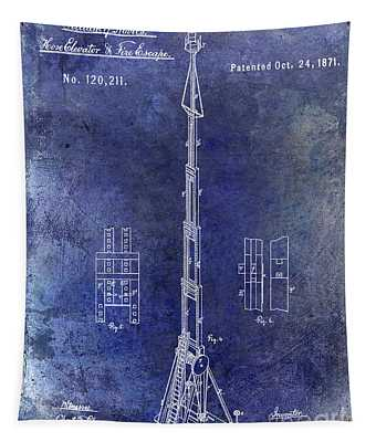 1871 Fire Hose Elevator Patent Blue Tapestry