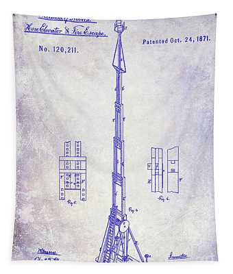 1871 Fire Hose Elevator Patent Blueprint  Tapestry