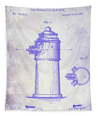1871 Fire Hydrant Patent Blueprint Tapestry