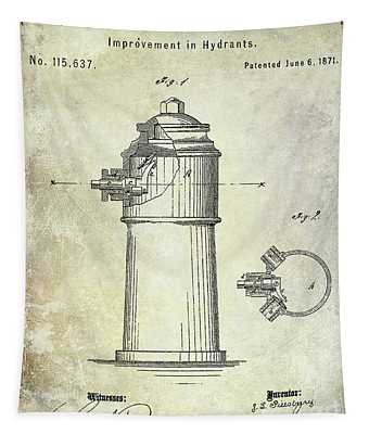 1871 Fire Hydrant Patent Tapestry