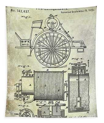 1873 Fire Extinguisgers Patent Tapestry