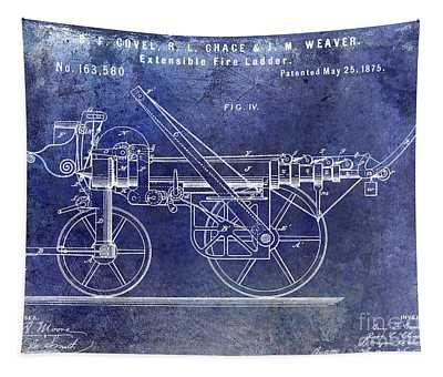 1875 Ladder Truck Patent Blue  Tapestry