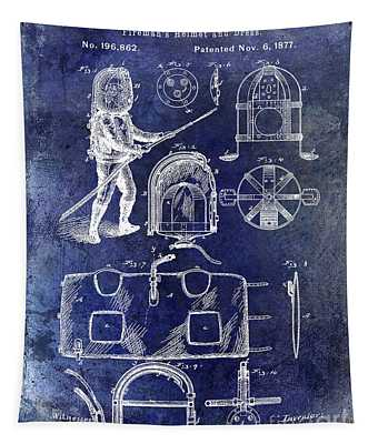 1877 Firemans Helmet And Dress Patent Blue Tapestry