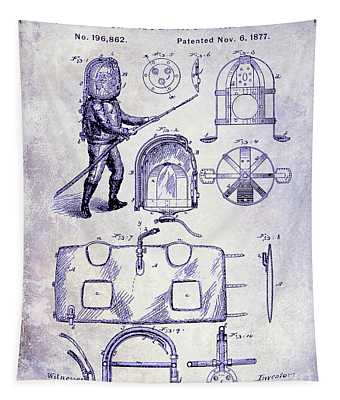 1877 Firemans Helmet And Dress Patent  Blueprint Tapestry