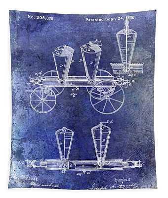 1878 Fire Truck Patent Blue Tapestry
