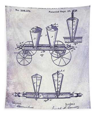 1878 Fire Truck Patent Blueprint Tapestry