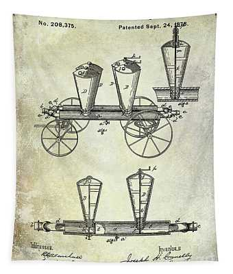 1878 Fire Truck Patent Tapestry