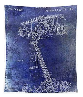1884 Fire Ladder Truck Patent Blue Tapestry