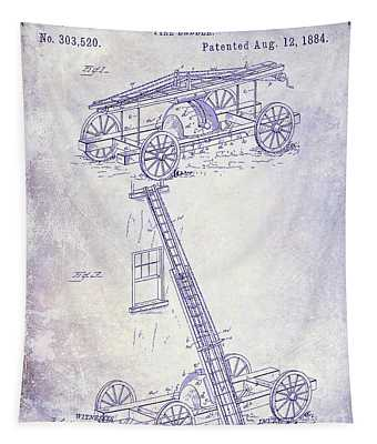 1884 Fire Ladder Truck Patent Blueprint Tapestry