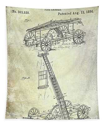 1884 Fire Ladder Truck Patent Tapestry