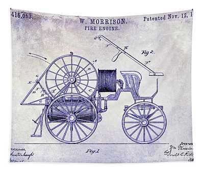 1889 Fire Engine Patent Blueprint Tapestry