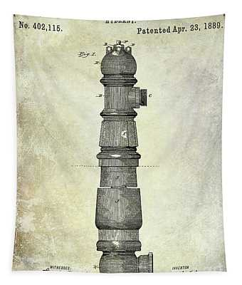 1889 Fire Hydrant Patent  Tapestry