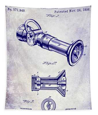 1896 Fire Hose Spray Nozzle Patent Blueprint Tapestry
