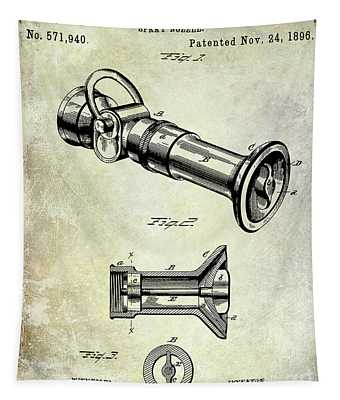 1896 Fire Hose Spray Nozzle Patent  Tapestry