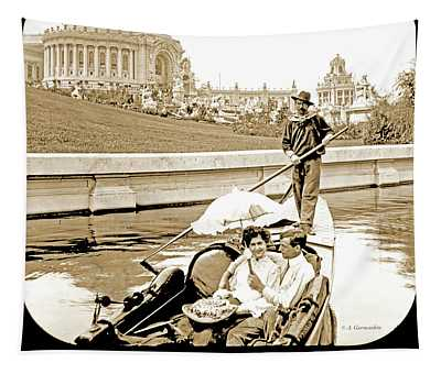 1904 Worlds Fair, Sighteeing Boat, Oarsman And Couple Tapestry