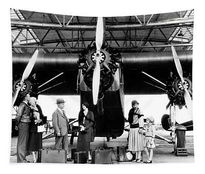 1920s 1930s Group Of Passengers Waiting Tapestry