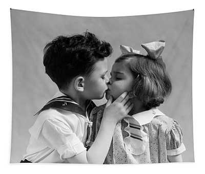1930s Two Children Young Boy And Girl Tapestry
