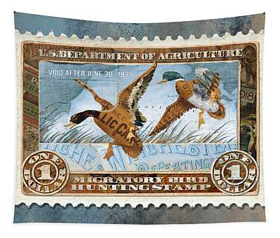 1934 Hunting Stamp Collage Tapestry