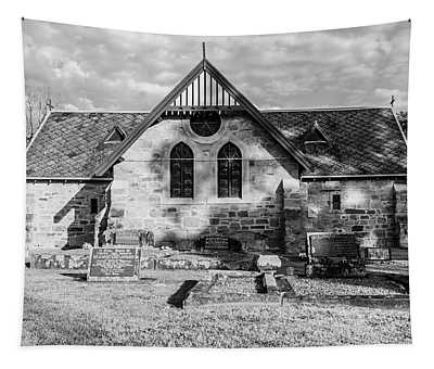 19th Century Sandstone Church In Black And White Tapestry