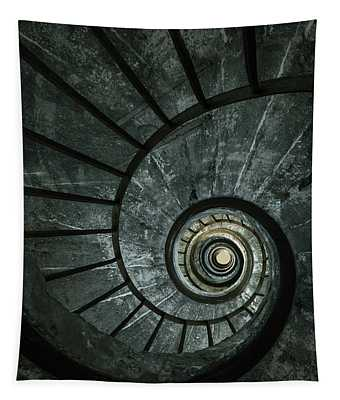 Tapestry featuring the photograph Dark Spiral Staircase by Jaroslaw Blaminsky