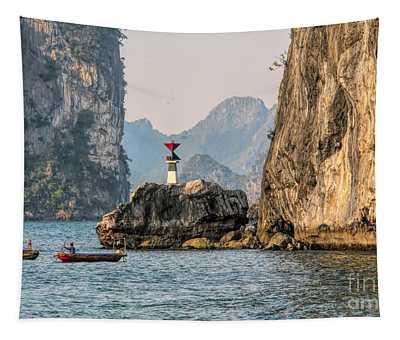 2 Fishing Boats Ha Long Bay Vietnam  Tapestry