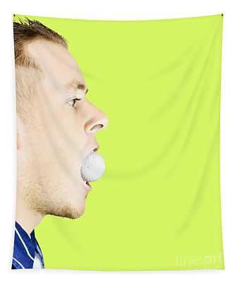 Man With Golf Ball In Mouth Tapestry