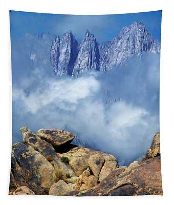 Mount Whitney In Clouds Alabama Hills California Tapestry