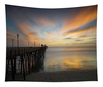 Oceanside Pier Sunset Tapestry