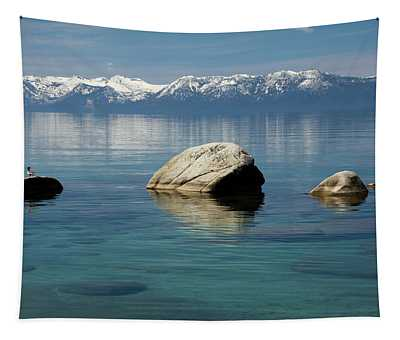 Rocks In A Lake With Mountain Range Tapestry