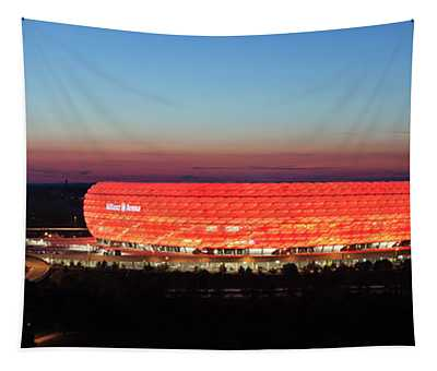 Soccer Stadium Lit Up At Dusk, Allianz Tapestry