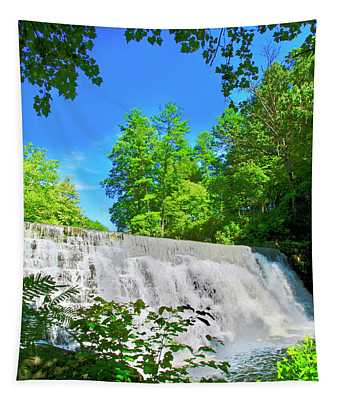 Waterfall Over Weir Dam Blue Ridge Parkway Virginia Tapestry