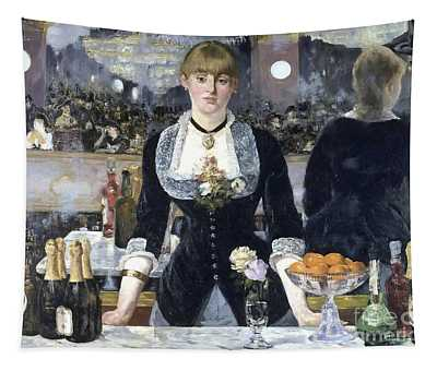 Tapestry featuring the painting A Bar At The Folies Bergere by Edouard Manet