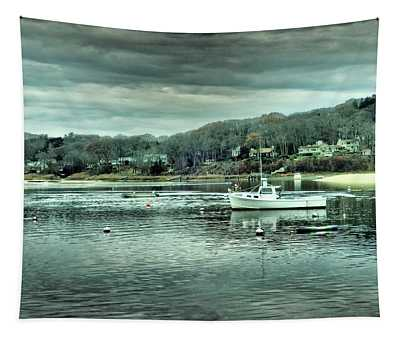 Boats At Northport Harbor Tapestry