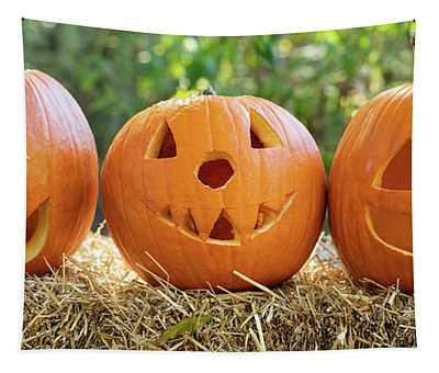 3 Carved Pumpkins Tapestry
