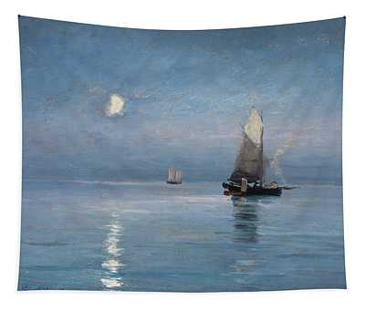 Fishing Cutters In The Moonlit Night Tapestry