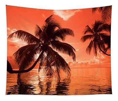 Palm Trees At Sunset, Moorea, Tahiti Tapestry