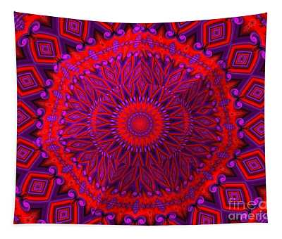 3d Look Indian Blanket Fractal Abstract Tapestry