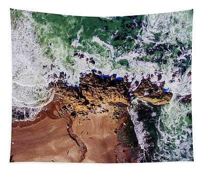 Aerial View Of The Beach, Newport Tapestry