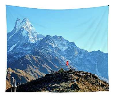 Machapuchare Mountain Fishtail In Himalayas Range Nepal Tapestry